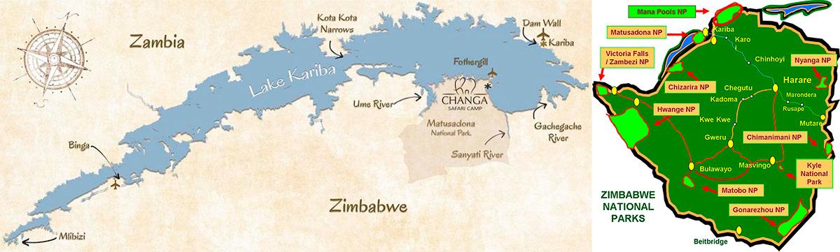 map of Zimbabwe and Lake Kariba
