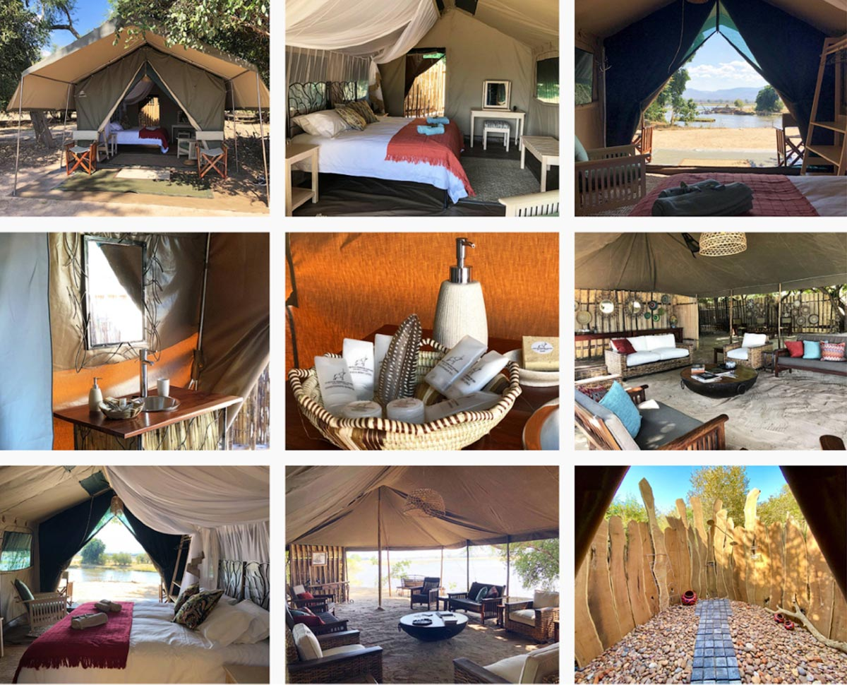 Stretch Safaris tents shower and dining area